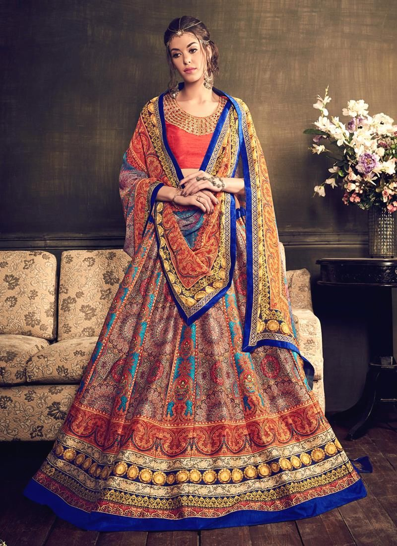 Desirable multi colour patch border work banglori silk a line