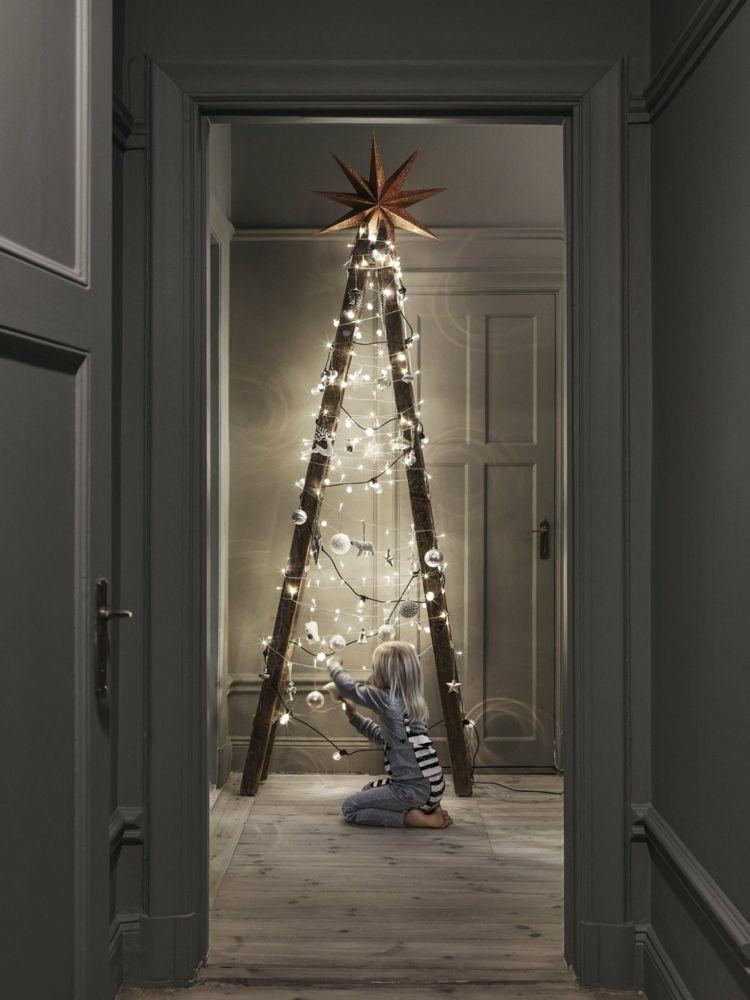 leiter weihnachtlich dekorieren weihnachtsbaum alternative. Black Bedroom Furniture Sets. Home Design Ideas