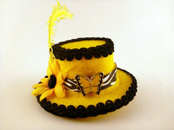 8deb1d0725f Top Hat Hair Clip Sunflower Butterfly Mad Hatter Mini