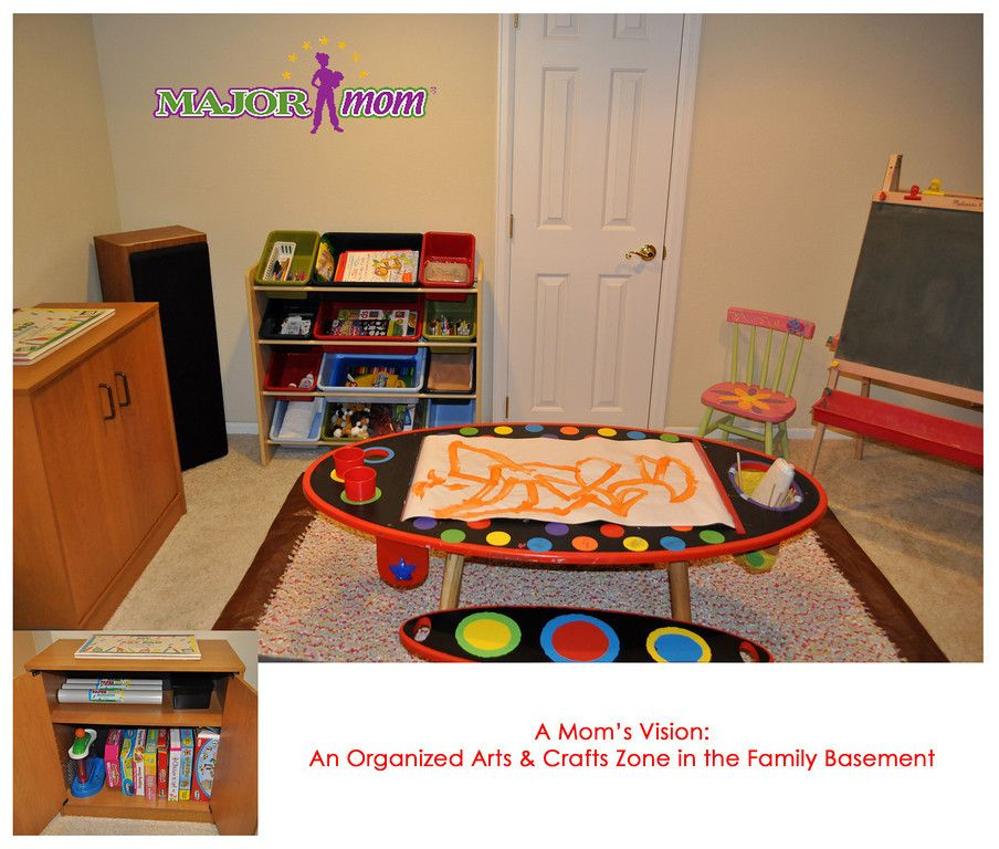 Organized arts and crafts zone in the basement