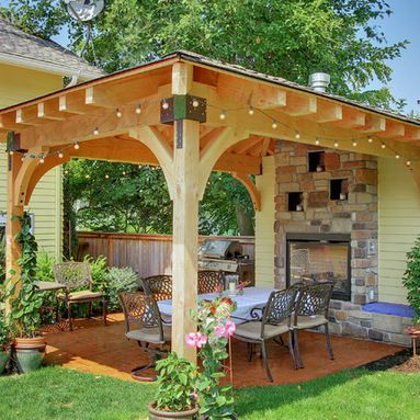 Open Brick Gazebo With Fireplace Home Design Ideas Pictures