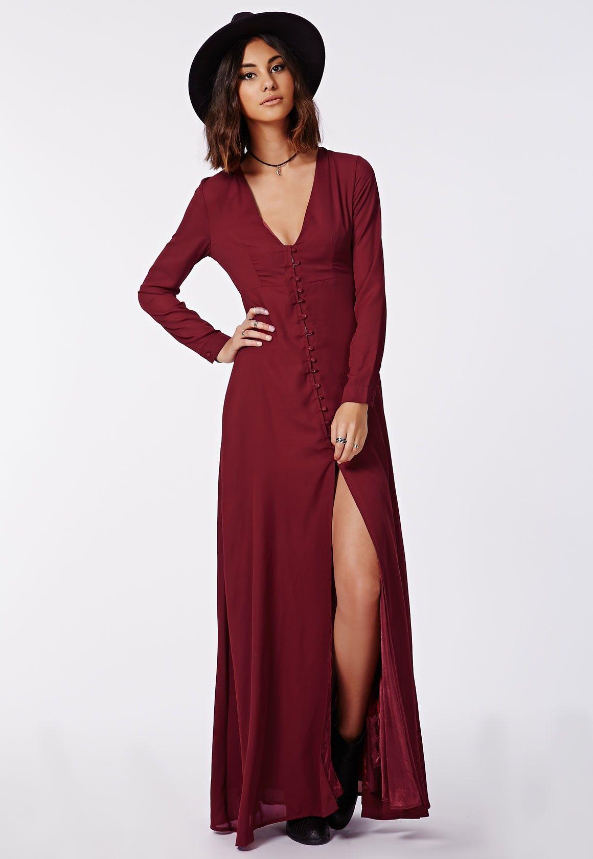 Missguided Effie Long Sleeve Maxi Dress Burgundy Long Sleeve Maxi Dress Maxi Dress Online Dress Shopping [ 1680 x 1160 Pixel ]