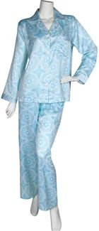 Miss Elaine Brushed Back Satin Pajama Long Sleeve Long pant with