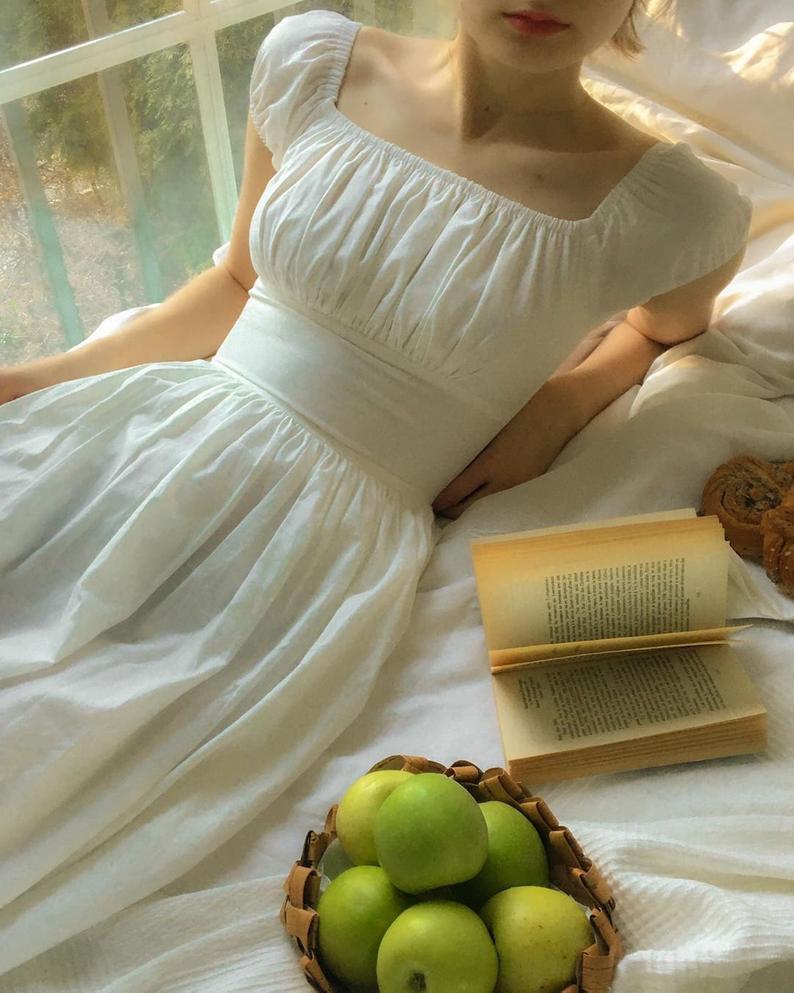 Loretta Dress In Solid White Cotton In 2021 Cottagecore Fashion Vintage Dresses Cute Dresses [ 993 x 794 Pixel ]