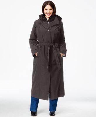 London Fog Plus Size Layered Maxi Trench Coat