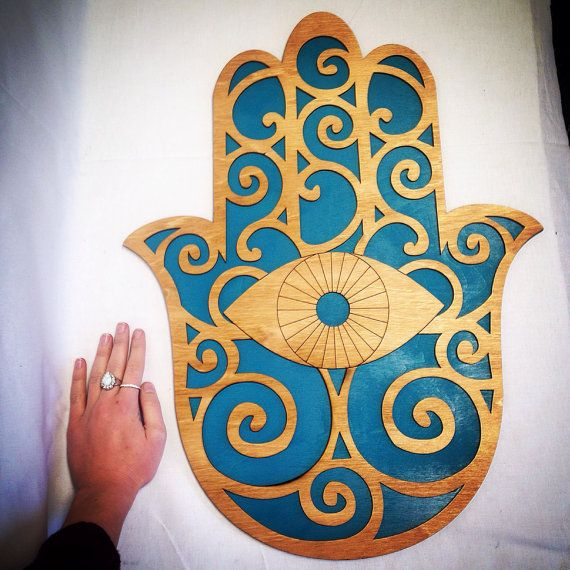 Large 24 Wood And Teal Hamsa Wall Art