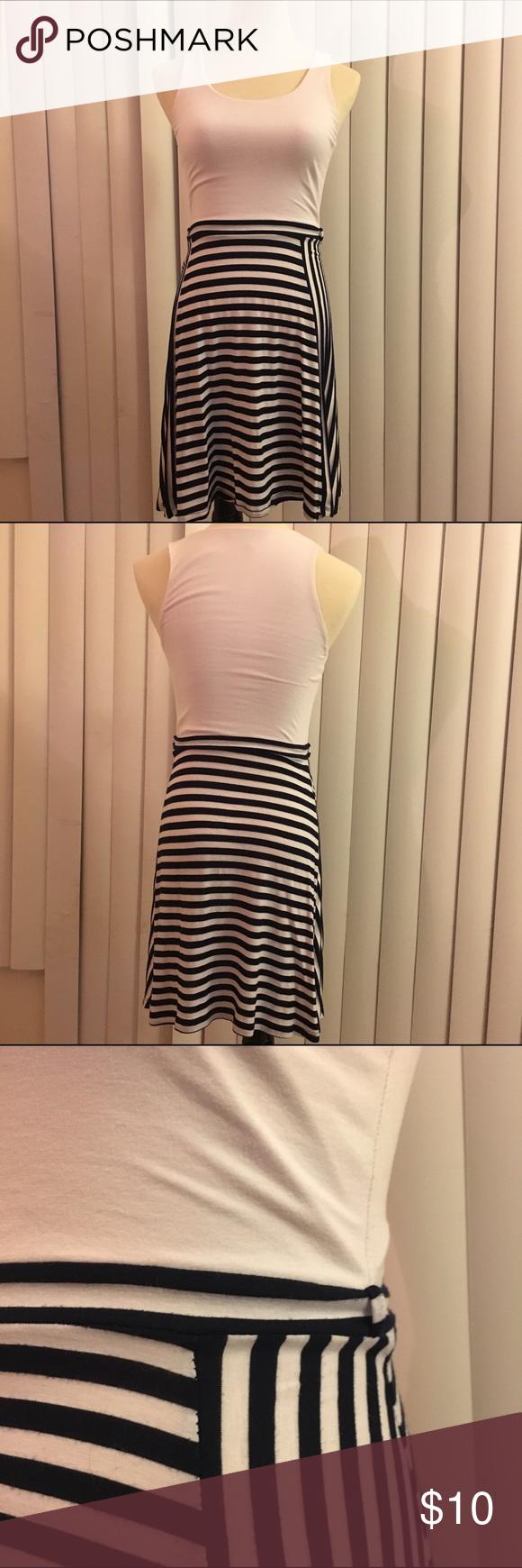 Black & White Stripes Skater Dress Black & white stripe cotton skater dress, belt loop on both sides, very comfortable day dress! Dresses Midi