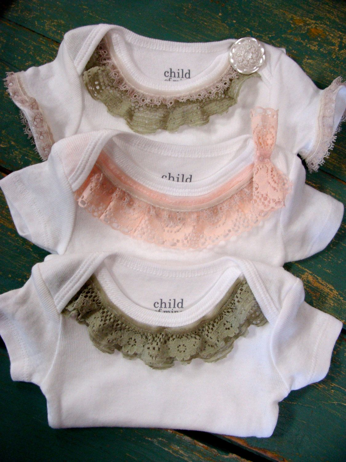 3571cbaa6d440 Lace Trim Onesie - Green and Pink Vintage Lace - Trendy Baby Girl - Perfect Baby  Shower Gift. $17.00, via Etsy.