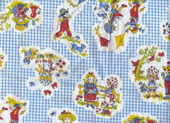 Retro Fabric 70s Sewing Material Children Motif Gingham Blue Red Yellow Nursery Rhyme Baby Blanket Quilting