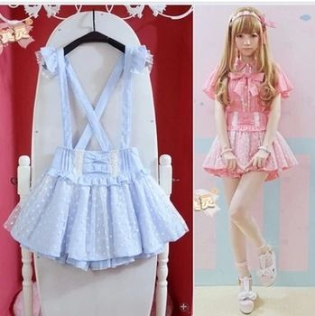 ❤Kawaii Love❤ ~High Waisted 2015 cute Japanese Ruffle Lace Skirt Suspender Detachable Strap Skirts