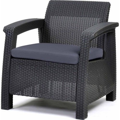 All Weather Plastic Patio Furniture Charcoal Gray Rattan Open