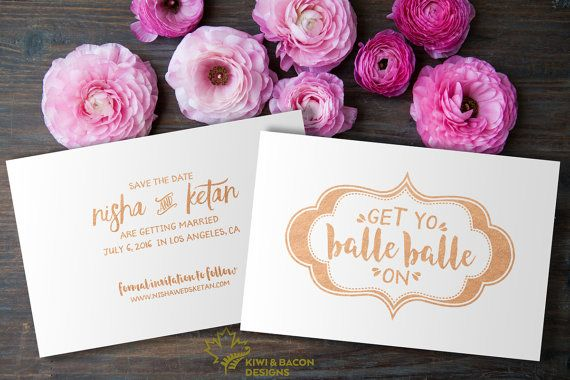 Indian Save the Date - Get Yo Balle Balle On - Rose Gold Foil, Party  Invitation