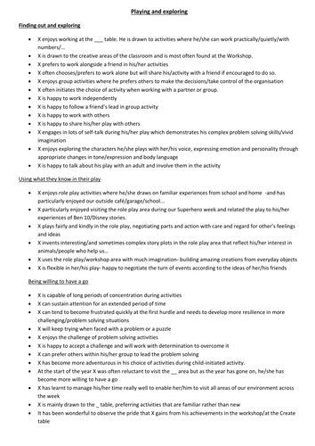 Report Comments For EyfsDoc  Report Writing    Report