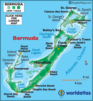 Kings Wharf Bermuda Map Map of Bermuda with King's Wharf cruise port at the northwest top
