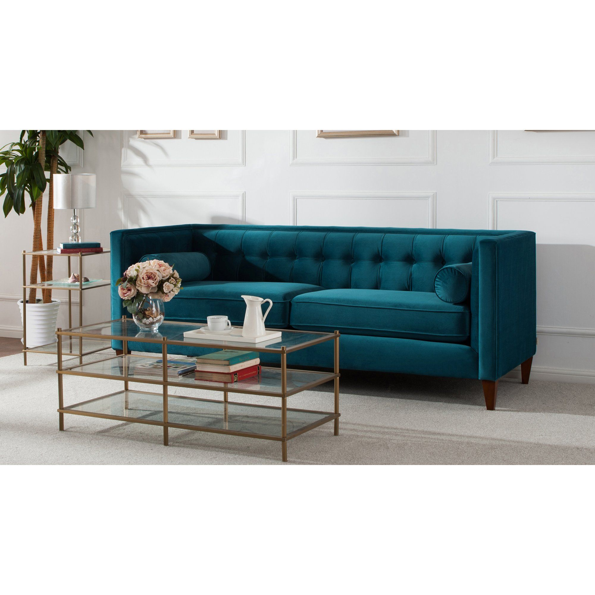 Amazing Harcourt Tufted Chesterfield Sofa In Teal