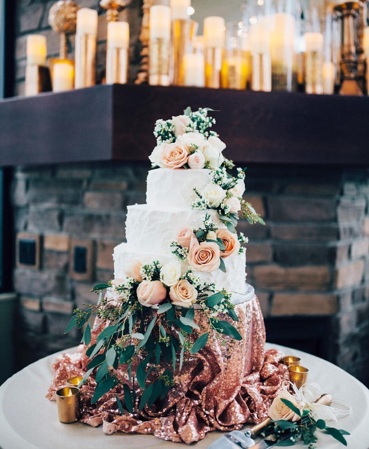 150 wedding cake from Walmart! Decorated with fresh