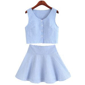 Blue Grids Printing Vest With Pleating Skirt Two-piece Suit