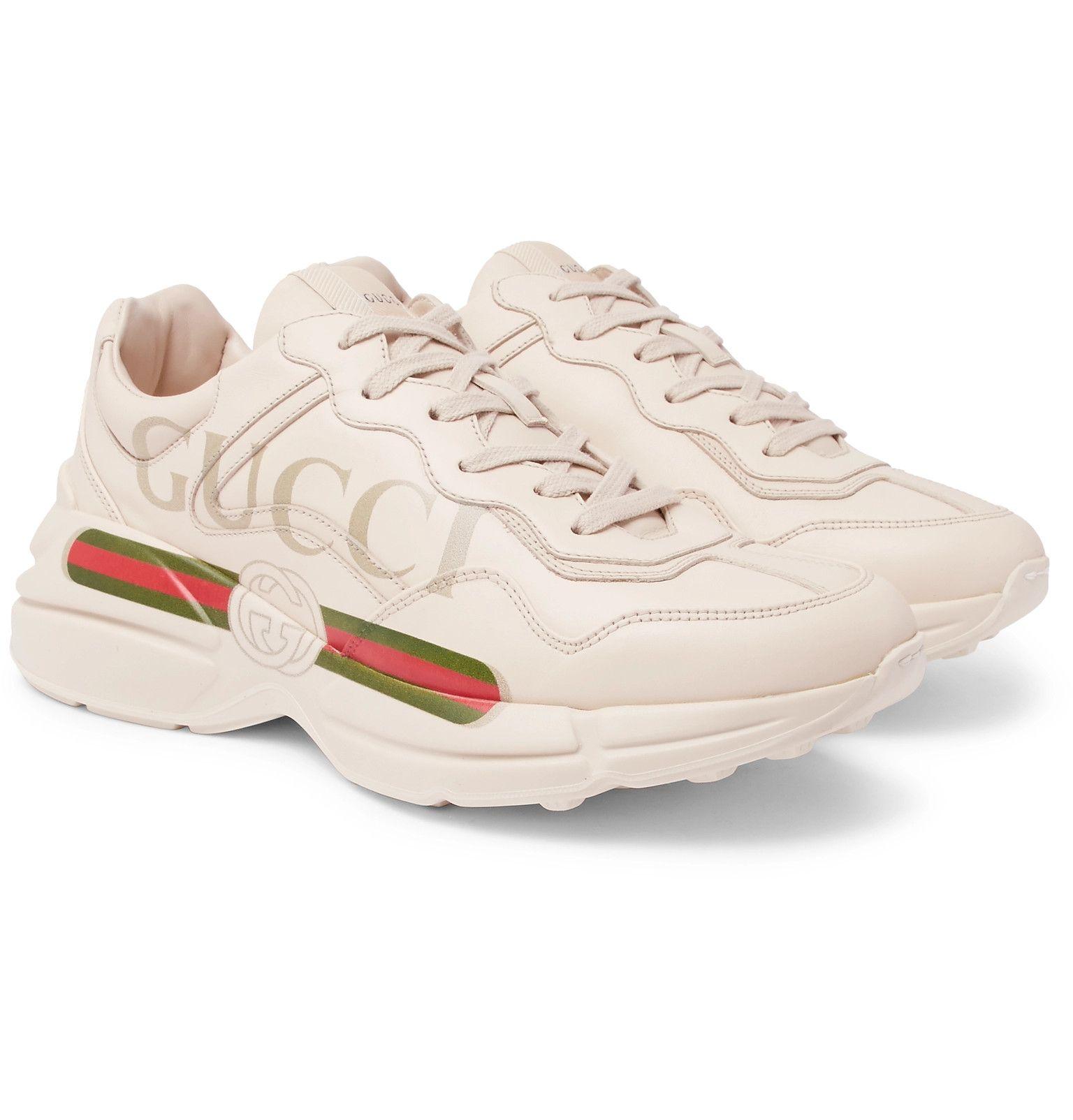 Gucci - Rhyton Logo-Print Leather Sneakers Tênis De Couro 7390d028e5b