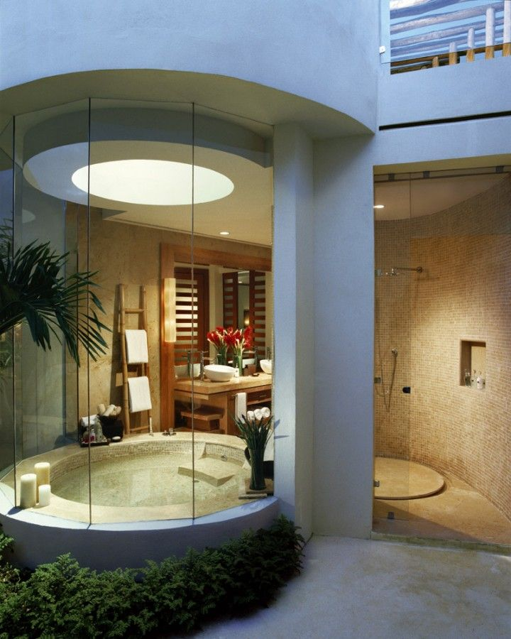 Bathroom: Suitable Semi Outdoor Bathroom With Round Jacuzzi Bathtub  Featured Glass Wall With Green Plant