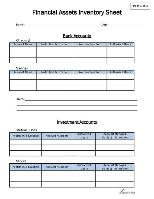 Financial Asset Inventory Form Organized planner, Binder and - account form template
