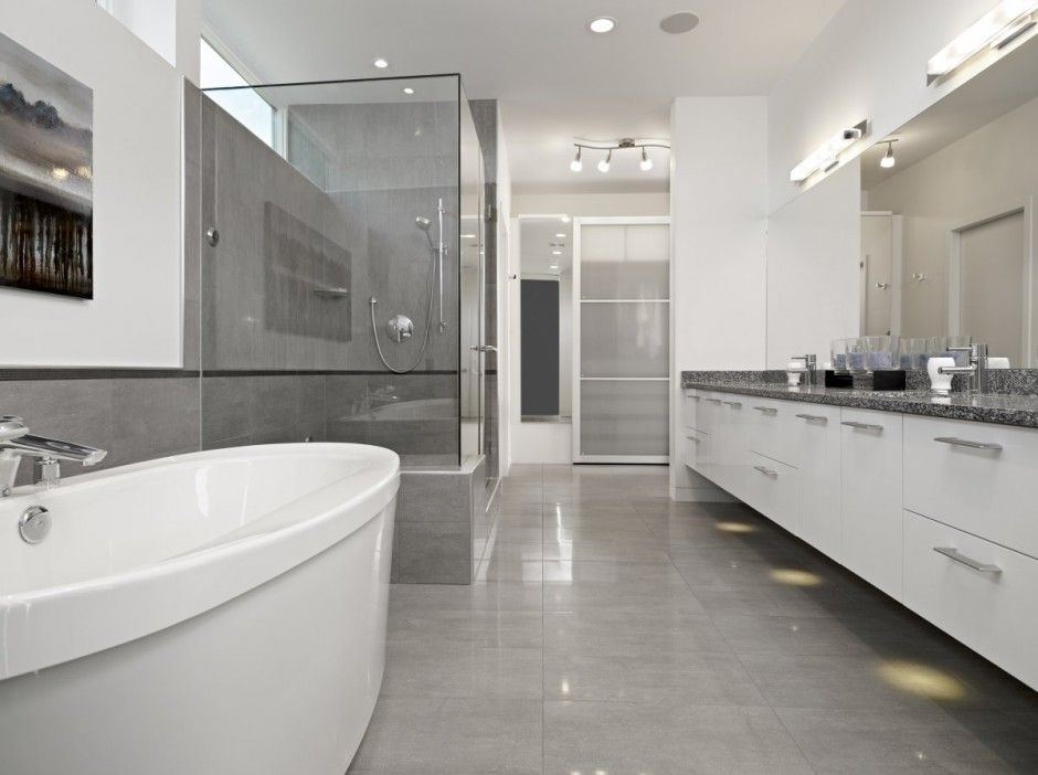 Gray Bathroom  Grey Bathroom Contemporary House Displaying A Neat Enchanting Modern Grey Bathroom Designs Decorating Inspiration