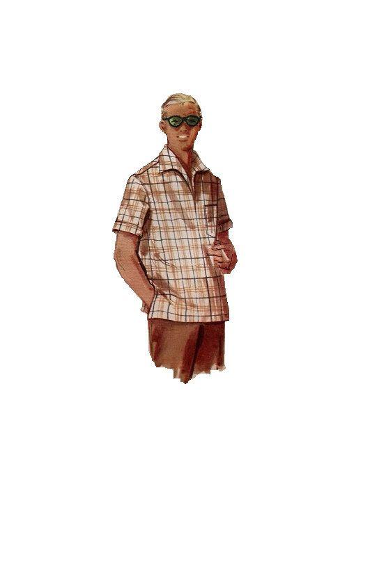 1950s Men\'s Casual Dress Shirt Simplicity 1432 Sewing Pattern Retro ...