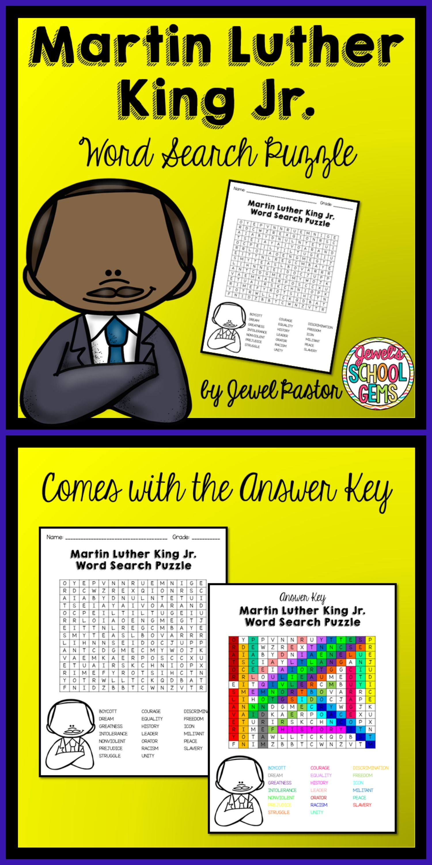 Martin Luther King Activities Martin Luther King Jr Word