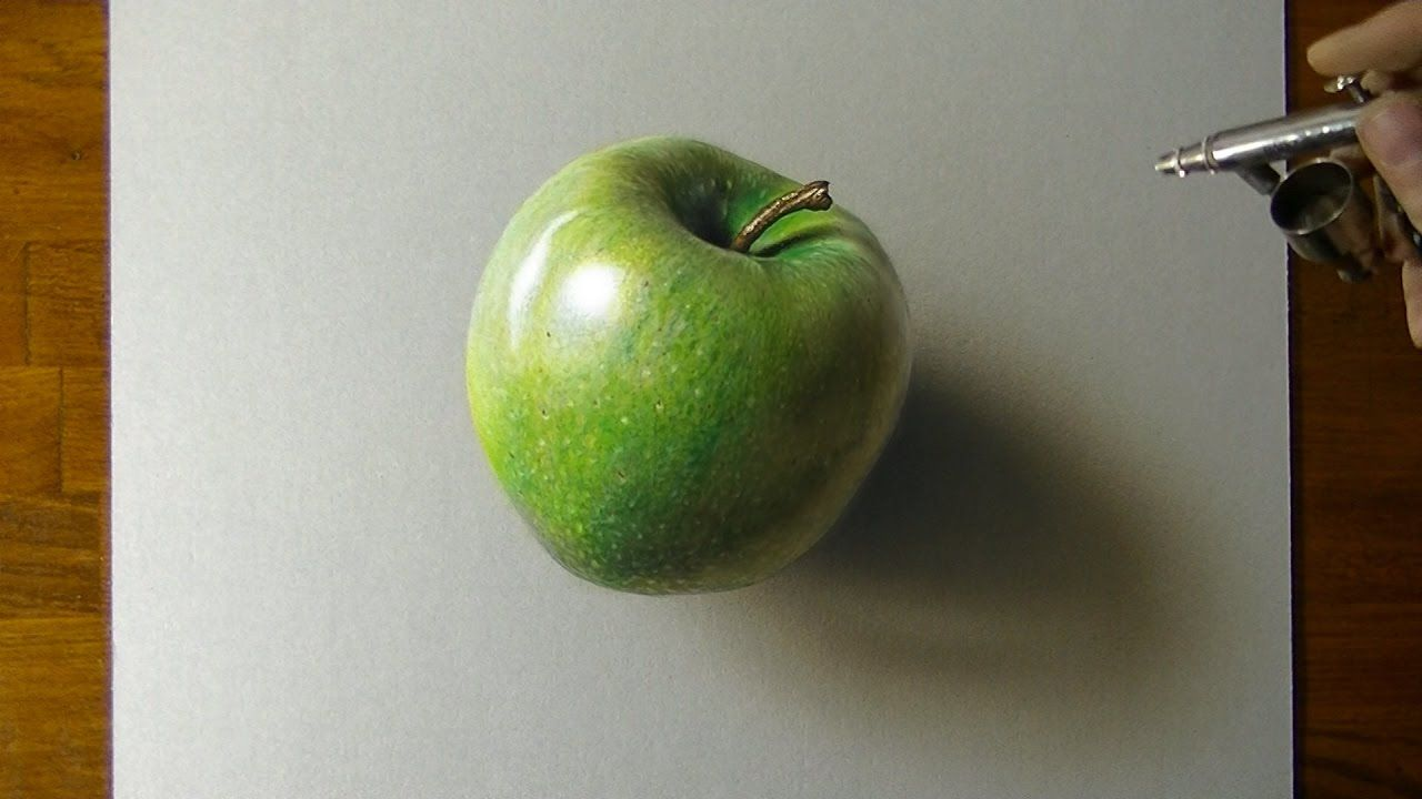 Drawing a Green Apple How to draw 3D art YouTube