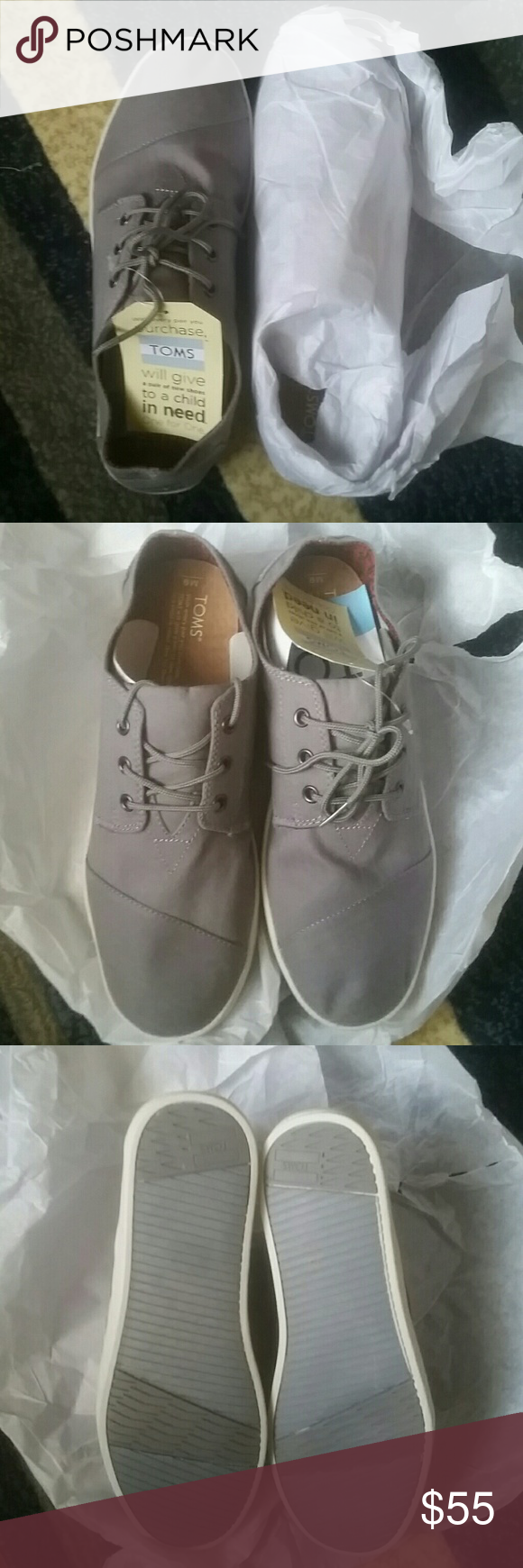Shoes Toms never been worn  Gray   Clean   No Box... TOMS Shoes Boat Shoes