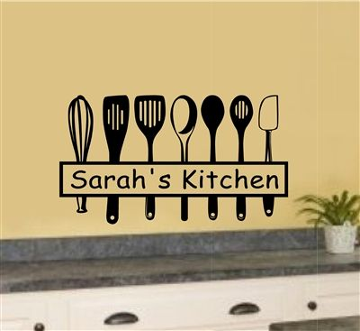 Personalized Custom Name Kitchen Utensils Vinyl Decal Wall Stickers ...
