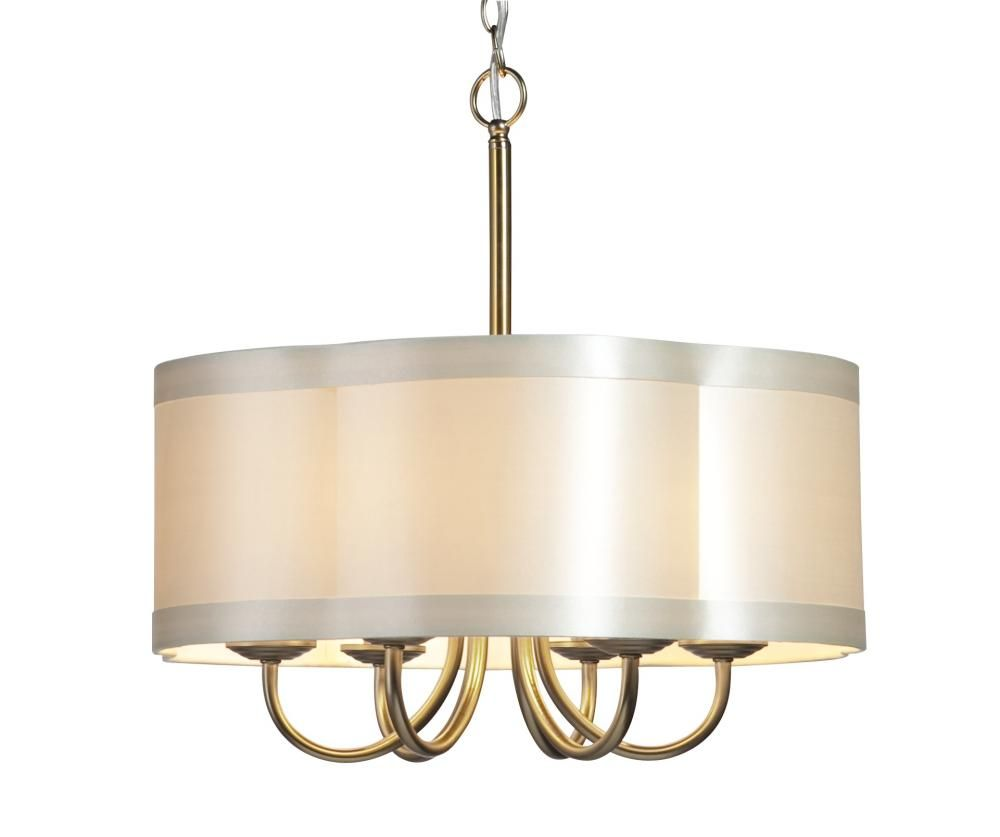 Chandeliers With Shades Lighting Six Light Antique Brass Scalloped Silk Shade Drum Chandelier