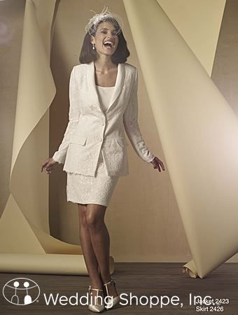 Women 39 s wedding suit jacket and skirt from alfred angelo for Wedding dress bodysuit and skirt