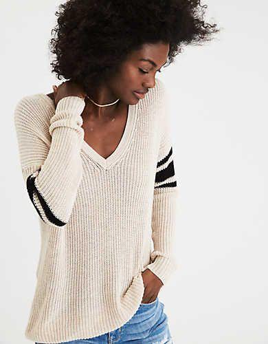 AEO Varsity Stripe V-Neck Sweater
