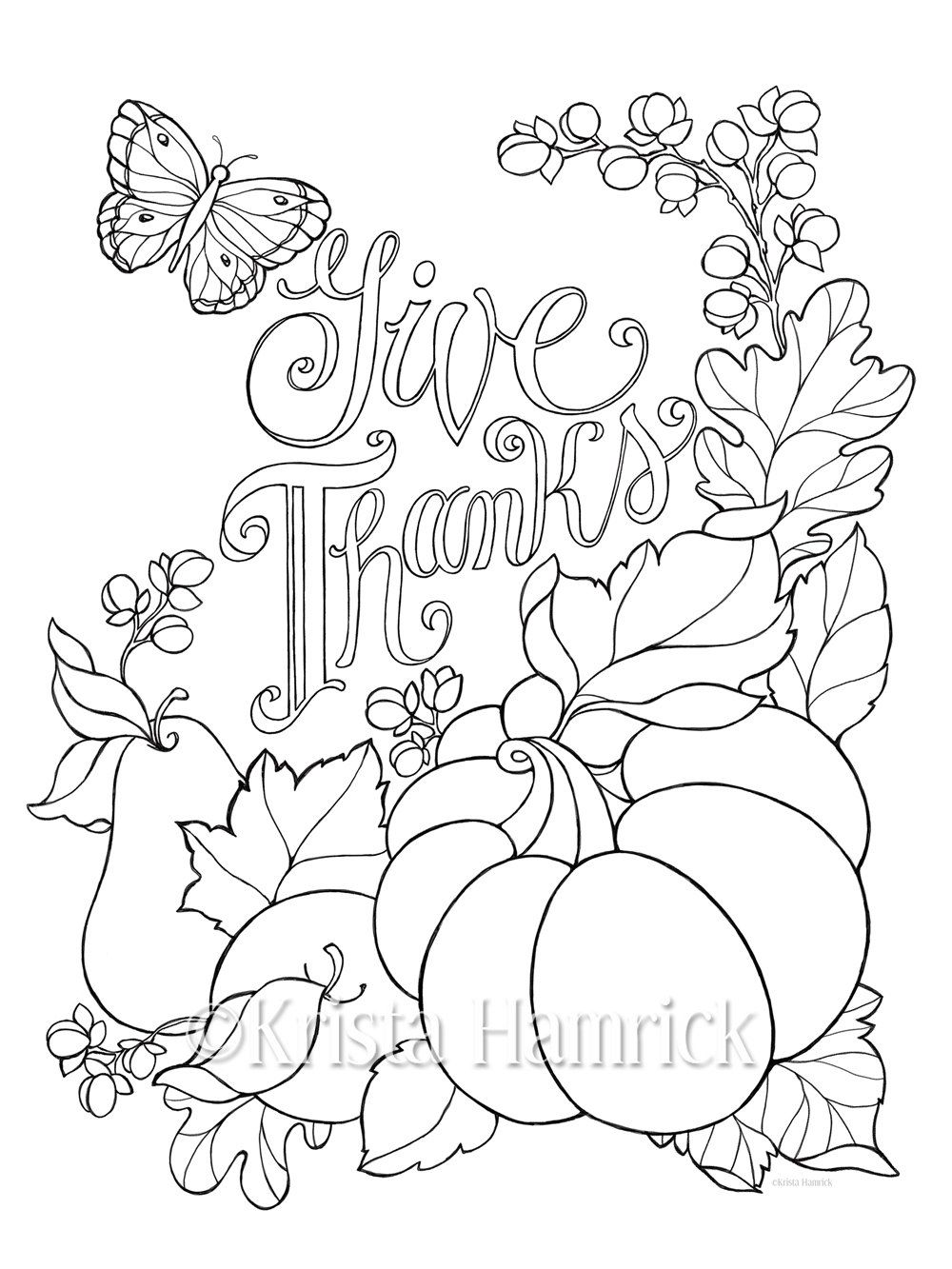 Give Thanks coloring page in two sizes 85X11 and Bible