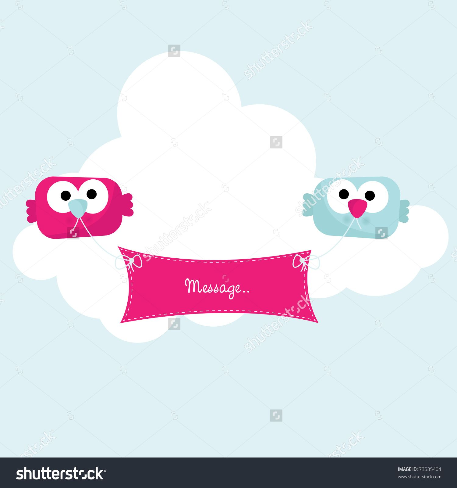 Cute Little Birds Holding Banner Vector 73535404 Shutterstock Banner Vector Little Birds Banner