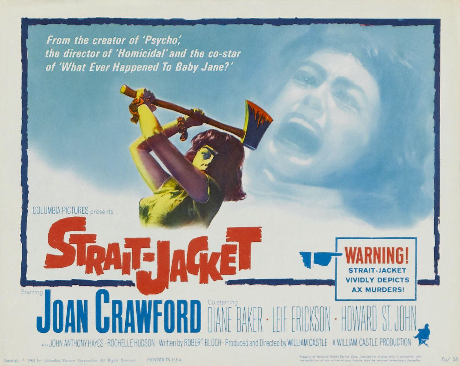 STRAIT-JACKET- 1964- orig rolled 22x28 Movie Poster - JOAN ...