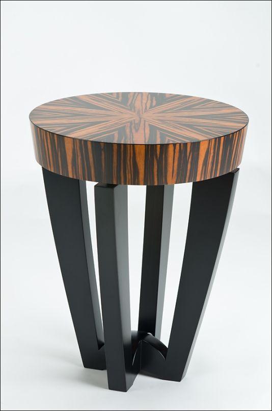 Kurve Studio: Flat Topper Side Table (Macassar Ebony Top, Gabon Ebony Trim,  Poplar Legs)