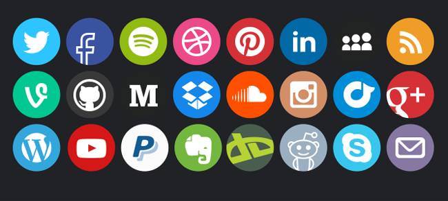 elements design social media vector icons squared and
