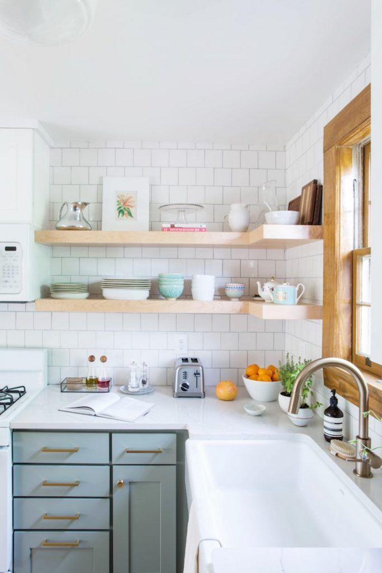 10 Lovely Kitchens With Open Shelving Green Kitchen Cabinets