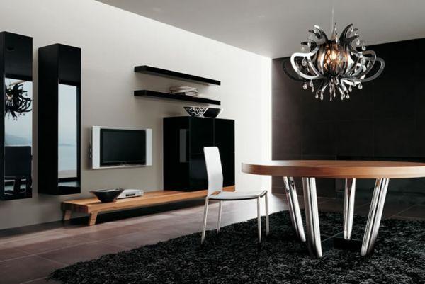 wohnwand design schwarz holz Wohnzimmer Ideen Pinterest - wohnzimmer ideen mit holz
