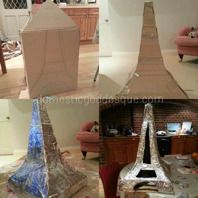 french craft ideas make an eiffel tower from a cardboard box recycle crafts 2049