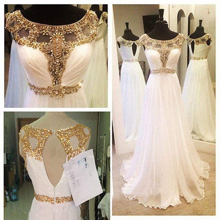 Robe De Mariee Avec Dentelle Doree Cap Sleeve Prom Dress Simple Prom Dress White Prom Dress