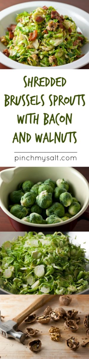 Shredded Brussels Sprouts with Bacon and Walnuts. Perfect healthy fall side dish! | pinchmysalt.com