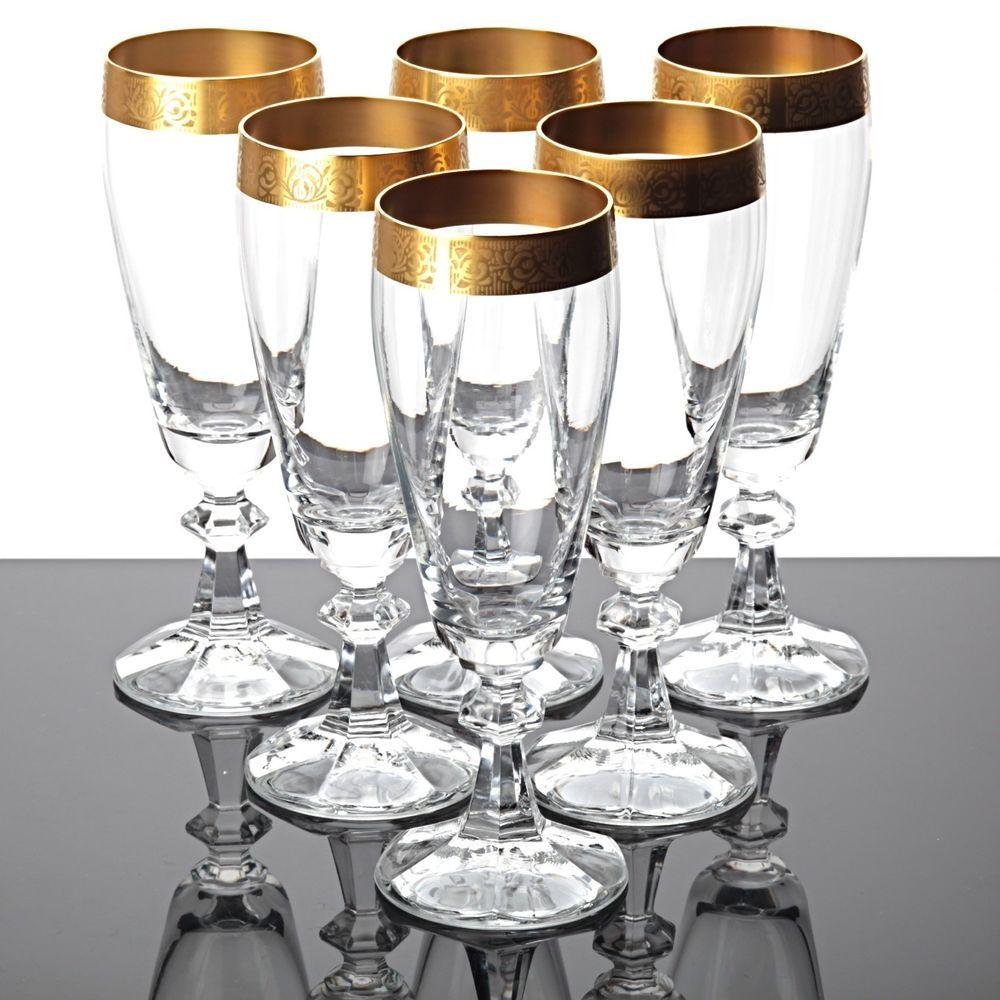 6 sektgl ser champagnergl ser gl ser kristall goldrand goldbord re vintage glas sch ne. Black Bedroom Furniture Sets. Home Design Ideas