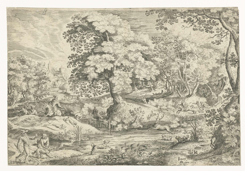 Jacob Savery (I)   Hertenjacht in een moeras, Jacob Savery (I), Hendrick Hondius (I), 1602   In een bomenrijk moeras jagen een aantal mannen met hun honden op een hert. Pendant van 'Hertenjacht bij een kapel'.