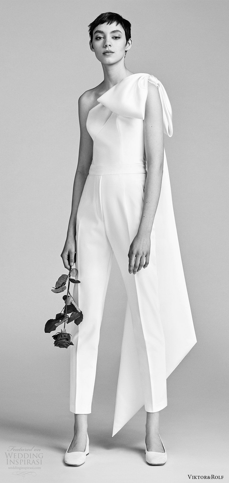 ef8876fd3a viktor and rolf spring 2018 bridal one shoulder bow pant jumpsuit wedding  dress (7) mv modern clean -- Viktor #weddingdress