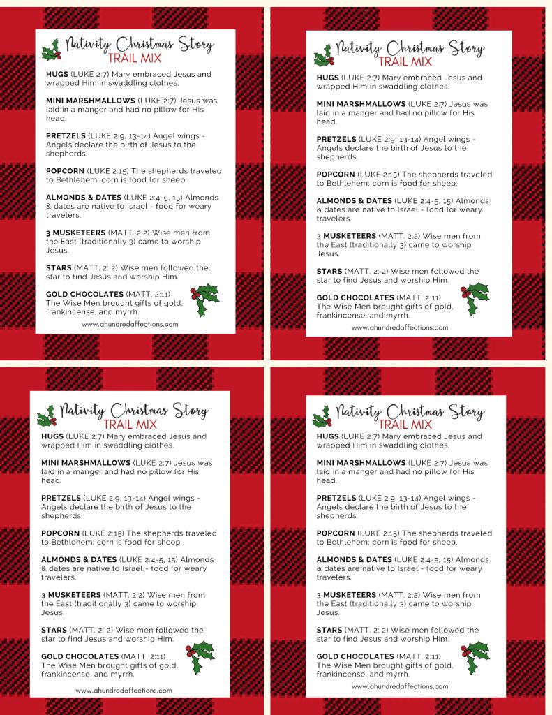 Nativity Christmas Story Trail Mix Mason Jar Gift Free Printable Tag A Christmas Story Christmas Gift Story Mason Jar Christmas Gifts