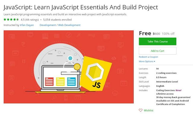 JavaScript: Learn JavaScript Essentials And Build Project (100% off