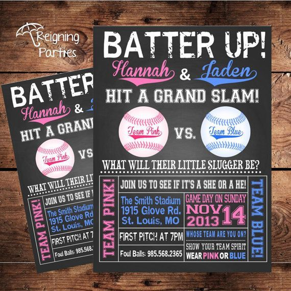 softball with chalk gender reveal - google search | our little, Baby shower invitations