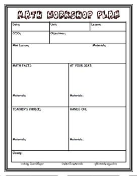 Editable Math Workshop Lesson Plan Format Common Core Aligned